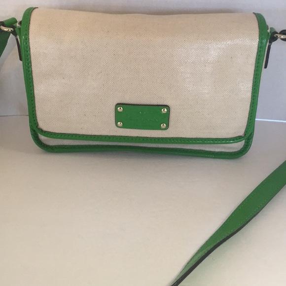 Kate spade coated canvas patent messenger bag